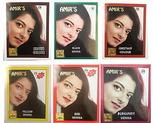 NEW X LOT AMIRS HENNA BLACK RED BROWN YELLOW CHESTNUT BURGUNDY - Hair colour yellow skin