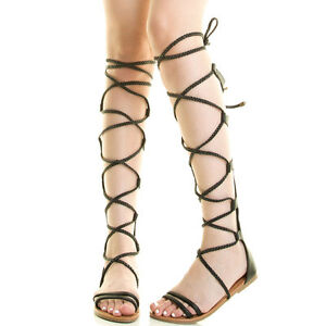 2a4e89935ed New Open Toe Braid Strap Tie Wrap Lace Up Gladiator Sandal Mid Calf ...