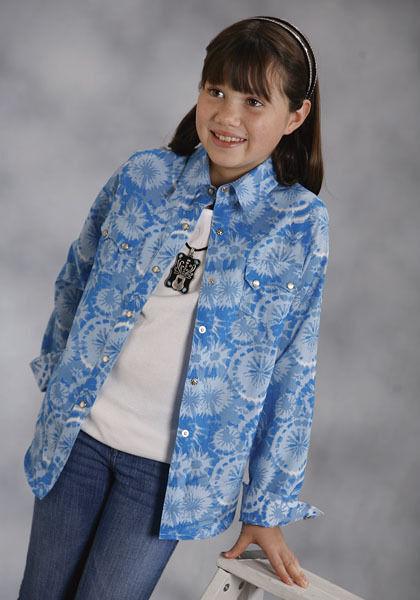 Girls Roper bluee Tie Dye Flowers Barrel Racing Show Rodeo Shirt XS S M L XL