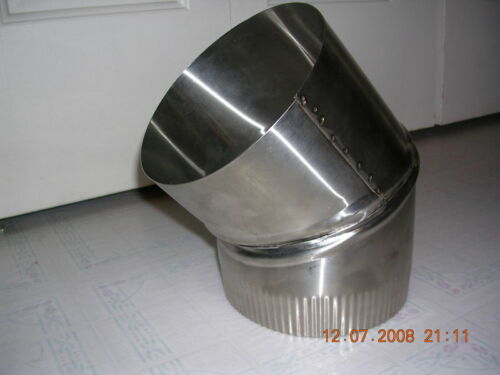 6 inch stove pipe Stainless Steel 30 Degree Single Wall Elbow made in Maine USA