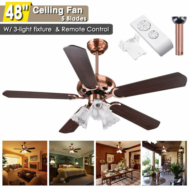 48 5 Blades Ceiling Fan With Light Kit Downrod Copper Reversible Remote Control For Sale Online Ebay