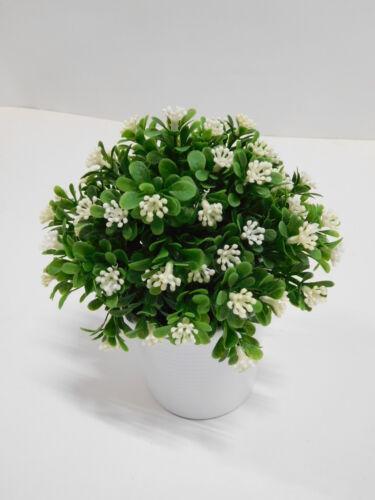 Buchsbaum Buchsbusch Kunstpflanze Kunstblume weiß 20 cm getopft 24517-CR F69