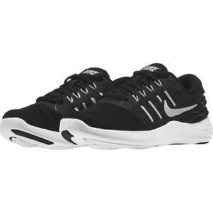 big sale 7b287 932ae Image is loading Wmns-Nike-Lunarstelos-Black-Metallic-Silver -Anthracite-White-