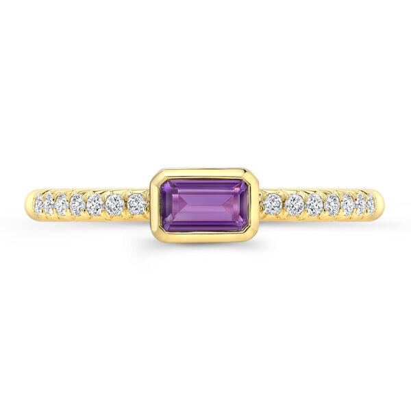 0.37tcw 14k Gelbgold Natürlich Smaragdschliff Amethyst Echtem Diamant Stapelbar Zahlreich In Vielfalt