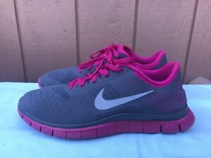 8aca4ff50805 EUC Nike Free Run 4.0 V2 Women s Gray Pink Running Shoes Size US 9 ...