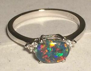 "Opal Ring Genuine Australian Natural /""Gem/"" Grade Triplet Sizes 6.5 to 7.5 US"