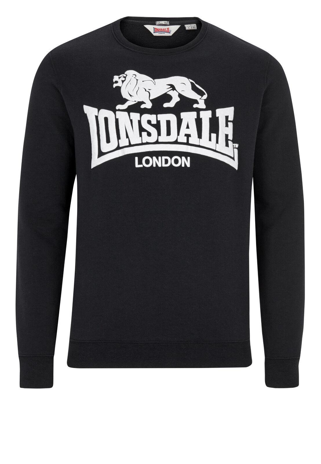 Lonsdale Slimfit Sweatshirt Gosport, Schwarz S-3XL