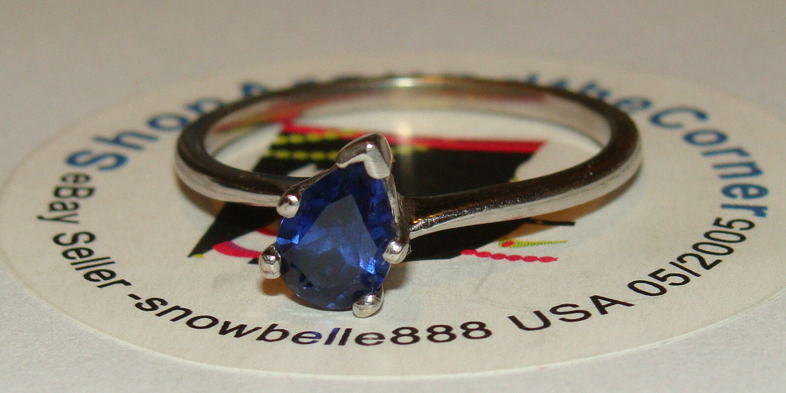 14K SOLID Wgold .75CTS NATURAL Pear Cut bluee Sapphire Solitaire Ring 2.3Gms Sze8