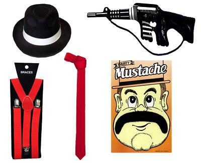RED 5Pcs Set Gangster 1920s AL-Capone Mafia Gangster Fancy Dress Accessories Men