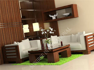 Contemporary Wooden Sofa set with 1 Center Table (SUN-WSS180)