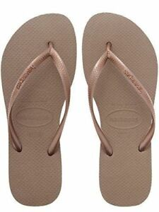 Havaianas Ladies Flip Flops Slim Beach Sandals All Size Black White Purple Green Rose Gold 4-5