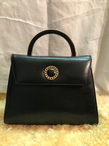 Susan Gail Black Leather Boxy Handbag Detachable S