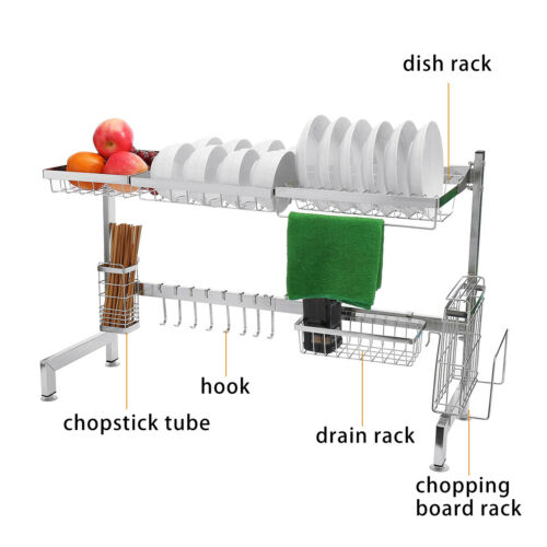 Over Sink Dish Drying Rack Drainer Shelf Stainless Steel Cutlery Holder Kitchen