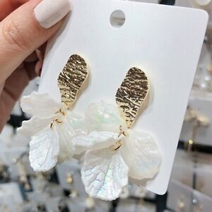 Fashion-Women-Jewelry-Flower-Shell-Stud-Earrings-Dangle-Drop-Wedding-Party-Gift