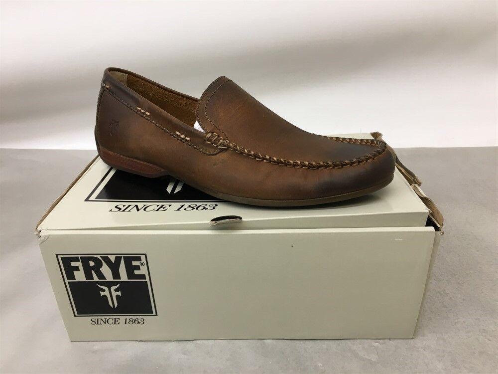NIB Men's Frye 80257 Lewis Venetian Leather Moccasins in Tan, Size 9.5