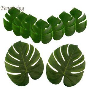 12Pcs-Artificial-Silk-Palm-Leaves-Tropical-Green-Turtle-Luau-party-Home-Decor