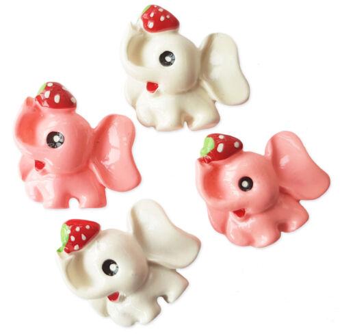 4 un Lindo Kawaii Dorso Plano Cabujones Adorno de resina de elefantes Decoden Craft
