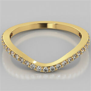 0.40 Ct Round Moissanite Engagement Eternity Band Solid 18K Yellow Gold Ring 7 8