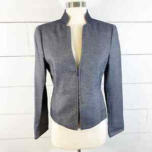 AKRIS Punto Gray Striped Zip LS Blazer Jacket Womens Size US 6