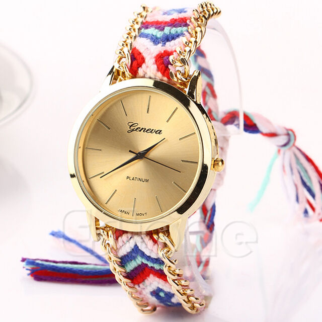 Women Geneva Knitted Weave Braid National Wind Bracelet Round Dial Wrist Watch