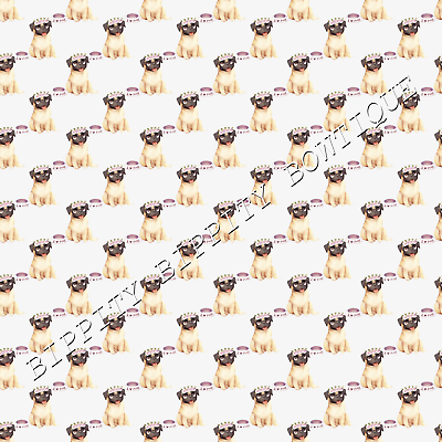 """GORGEOUS /""""PUGS /& KISSES/""""  CANVAS FABRIC SHEET..HAIR BOWS CRAFTS...EXCLUSIVE"""