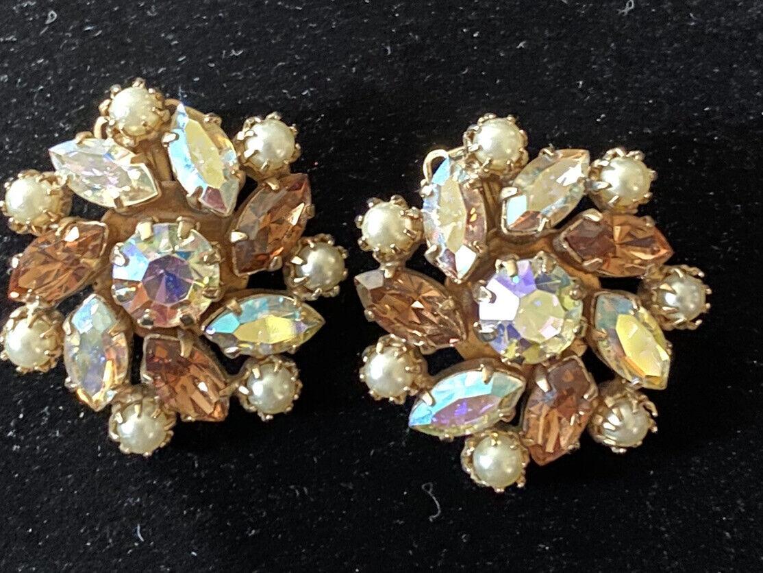 Vintage Signed Kramer of New York Rhinestone Dangle Clip-on Earrings