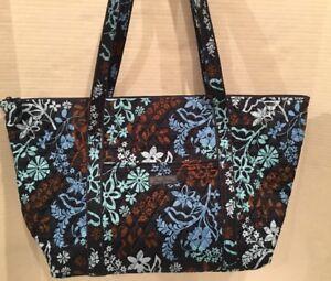 Details About Vera Bradley Miller Bag Java Fl Travel Tote Overnight Duffel Weekender 15688