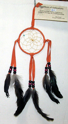 "Authentic Native American Dreamcatcher 3"" hoop Orange color FREE SHIPPING #821"