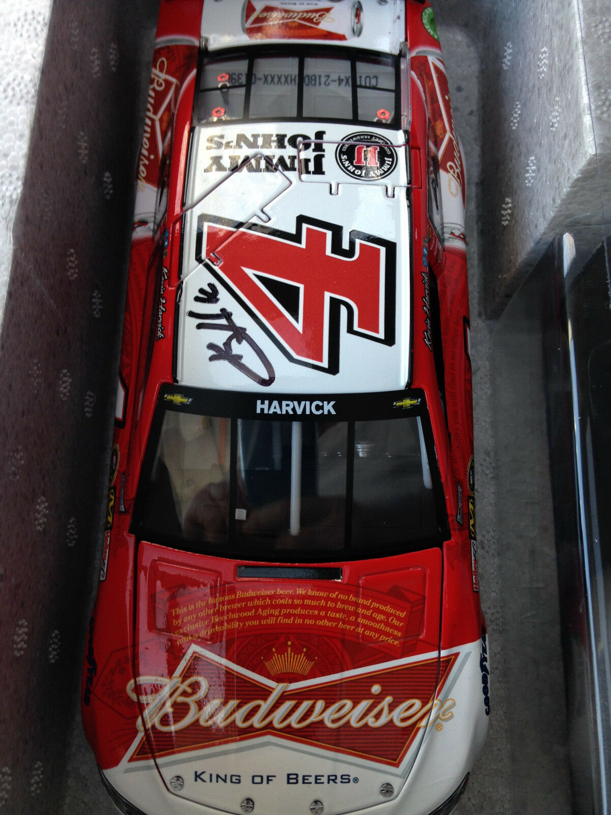 4 Kevin Harvick Signed 2015 Budweiser Chevy SS 1 24 Car