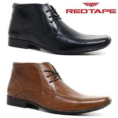 NEW MENS RED TAPE REAL LEATHER LACE SMART FORMAL CHELSEA ANKLE BOOTS SHOES SIZE