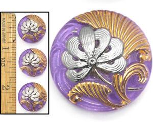 Purple Czech buttons w Gold accent Czech glass flower button 18mm