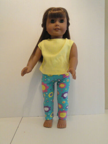 """Teal Flowered Leggings//Yellow Knit Top for 18/"""" Doll Clothes American Girl"""