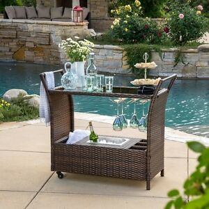 Image Is Loading BROWN Portable OUTDOOR BAR CART Ice Bucket Pool