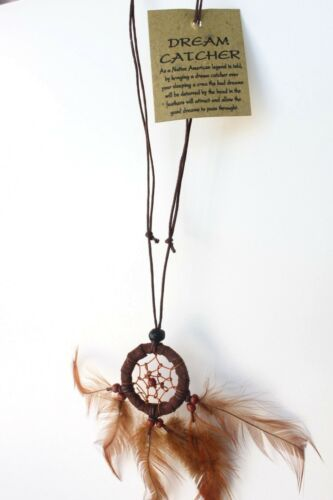 New Handmade Brown Dream Catcher Pendant Adjustable Cord Necklace QTY  2