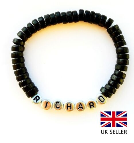 DAD DADDY-ANY NAME PERSONALISED NEW BABY BOY BLACK SURF BRACELET BIRTHDAY GIFT