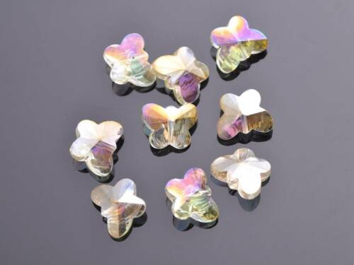 Papillon 10pcs à Facettes Verre Cristal Charms Craft Findings Loose Spacer Beads