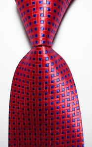 New Classic Checks Red Blue JACQUARD WOVEN 100% Silk Men's Tie Necktie