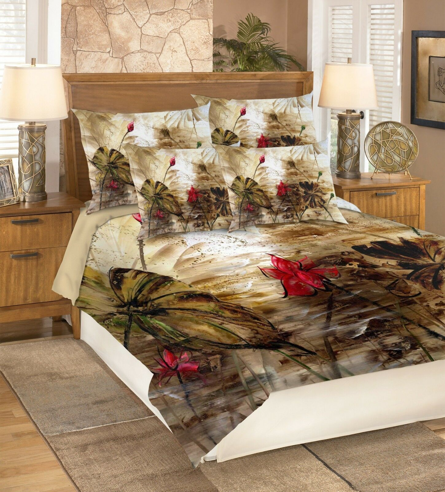3D rot Lotus 407 Bett Pillowcases Quilt Duvet Startseite Set Single Königin König AU Cobb