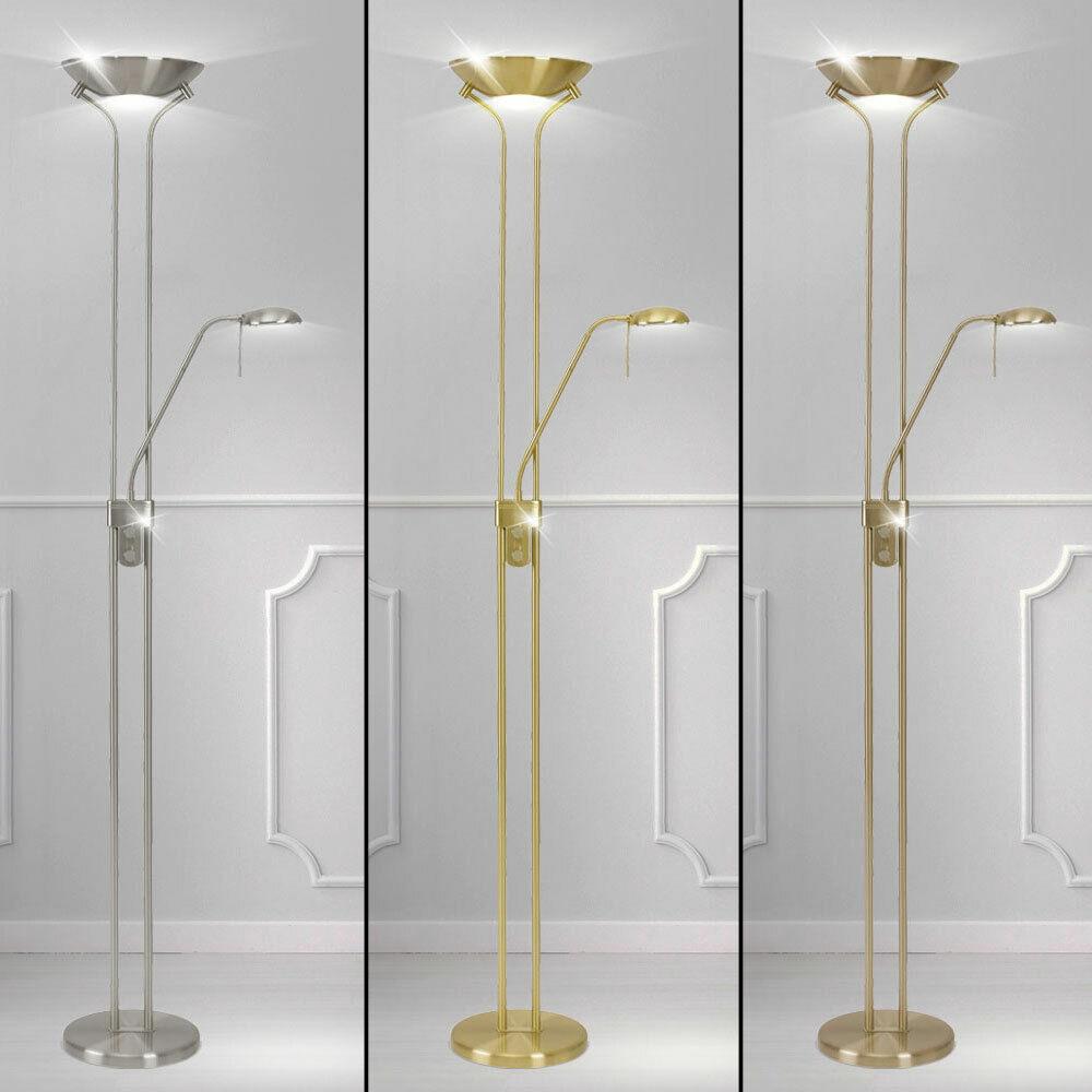 Stand Steh Leuchte Lese Lampe verstellbar Schlaf Zimmer Decken Fluter dimmbar