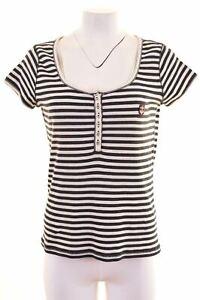 Marina-YACHTING-Damen-T-Shirt-Top-Groesse-14-Large-marine-blau-gestreift-dn06