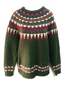 île belle Design M Pull nordique à Icelandic foncé L la Woolrich vert laine en et BrxEeoQWdC