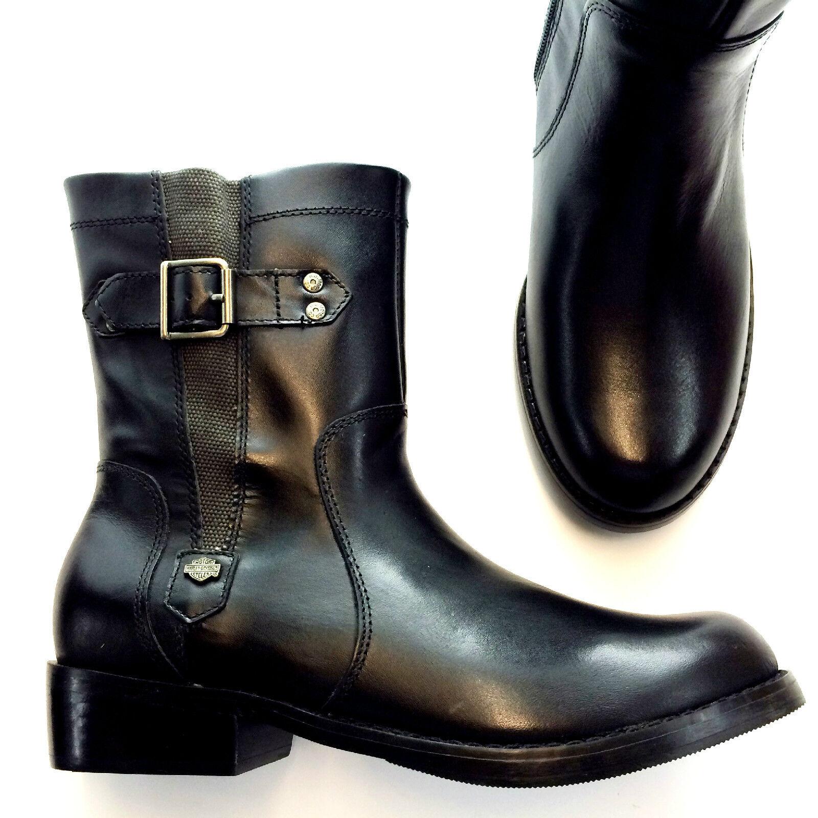 Harley-Davidson Women Black Boot, Leather Linhurst Mid Pullon Boot, Black D84502 f9556b