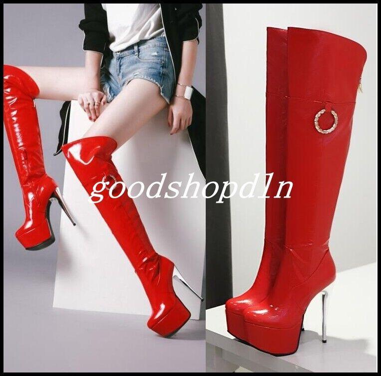 Womens Patent Leather Stiletto Heel Knee High Boots Paltform Nightclub Shiny new