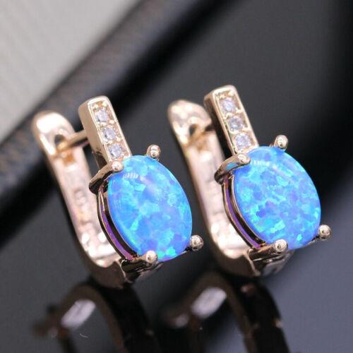 Relleno de oro amarillo azul ópalo de fuego Oval /& simulado pendientes de diamantes leaverback