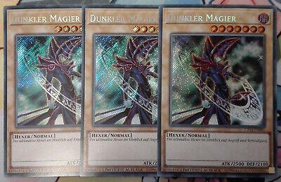 3x Dunkler Magier MVP1-DEGV3 Gold Secret Rare Yu-Gi-Oh Karten Playset DEUTSCH NM