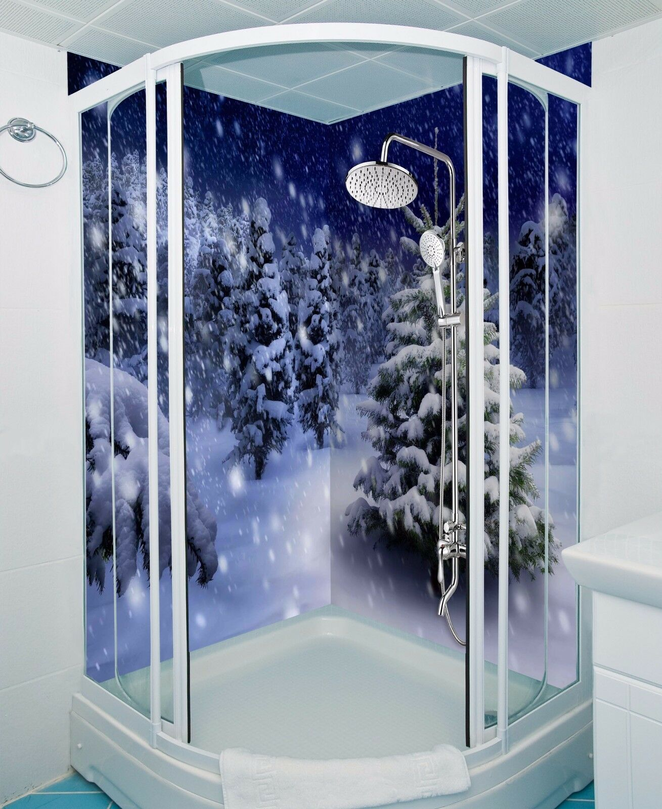 3D Snowing Pine White WallPaper Bathroom Print Decal Wall Deco AJ WALLPAPER UK