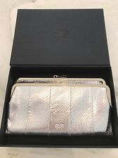ANYA HINDMARCH BI-FOLD MULTI-COMPART SILVER SNAKE CLUTCH WALLET NEW IN BOX!