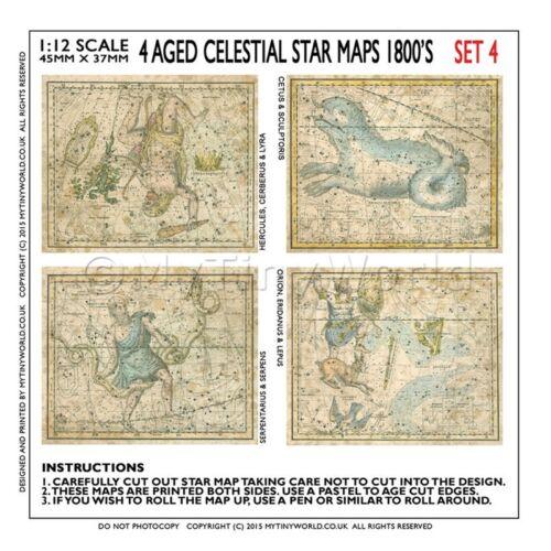 Casa de muñecas en miniatura 4 mapas antiguos estrella de la 1800s Set 4