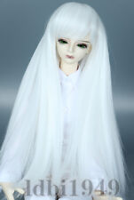 "1/6 6-7""LUTS Pullip SD BJD DD Doll Blythe Dollfie Wig Long Straight White Hair"