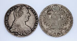 Lot-of-2-1780-1853-Austria-Silver-Thaler-Restrikes-Circulated-KM-1866-2-VF
